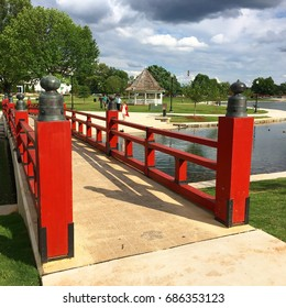 The red pedestrian bridge was a gift from Japan to the people of Huntsville, Alabama