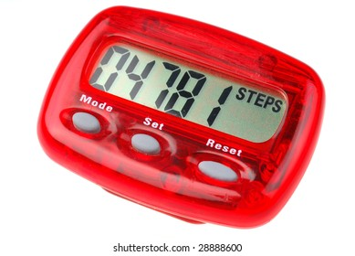 Red pedometer studio isolated on white background