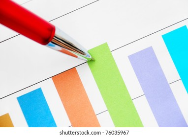 Red pen pointing at the bar graph