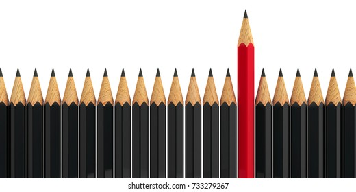 Red pencil among black pencils - conceptual image of the individuality, three-dimensional rendering, 3D illustration