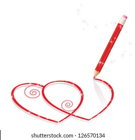 Red pencil draws sparkling hearts with curls