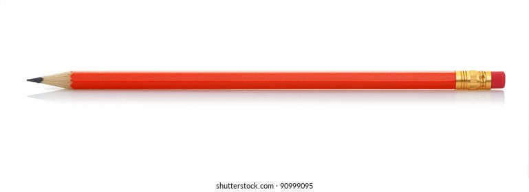 Red pencil with eraser. It is isolated on a white background