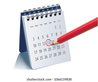 Red pencil on calendar page for remind and marked important events. Realistic 3d illustration