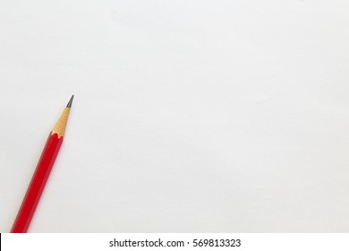 Red pencil on table, the blogger instrument