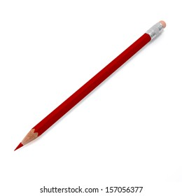 red pencil on a white background isolated