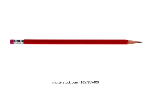 Red pencil on white background.