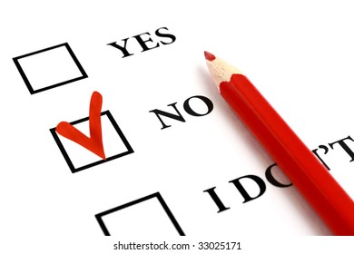 Red pencil and selected tick box with answer No.