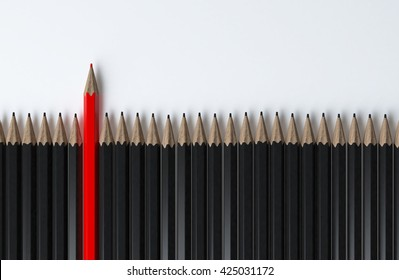 Red pencil standing out from black pencils standing in row on white background,Use for business concept ,3d rendering