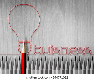 Red pencil standing out from the crowd, many of those same black on white table. Identity is a leading independent strategic initiatives opposition think different concept of business success.