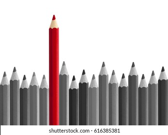 Red pencil standing out from crowd isolated on white