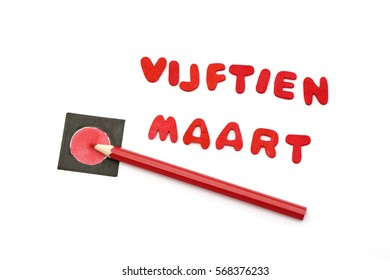 Red pencils and the words vijftien maart what means fifteen march the day of the elections in the Netherlands