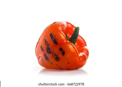 red pepper with the grill stripes on white background