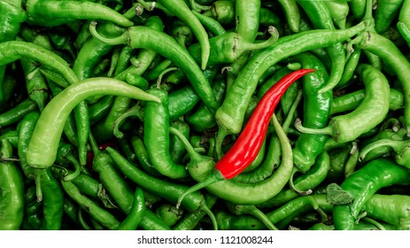 Red pepper on green peppers background. Chilli pepper.
