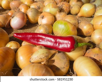 Red pepper and onion
