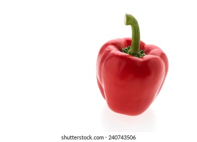 Red pepper vegetable isolated on white background - healthy food