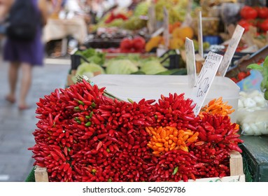 Red peppers chili on a market