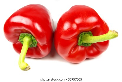 Red peppers isolated on white