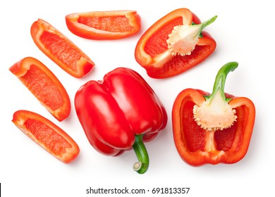 Red peppers isolated on white background. Top view - Shutterstock ID 691813357