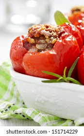 red peppers stuffed with meat and bulgur