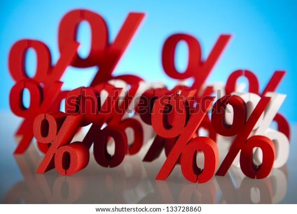 Red percentage symbol
