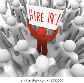 A red person stands out in a crowd holding a sign reading Hire Me