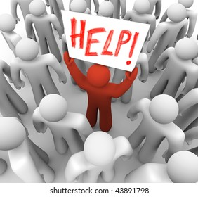 A red person stands out in a crowd holding a sign reading Help