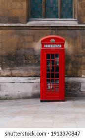 Red phone booth in Central London. Uk