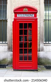 red phone booth in London, England