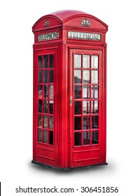 Red phone box in London over white background, United Kingdom,