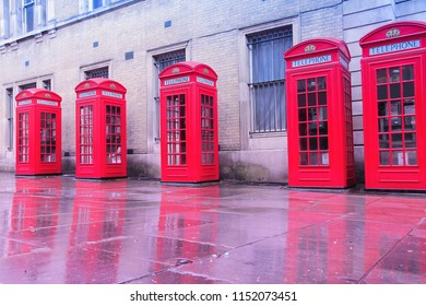 Red phone boxes in London, UK.