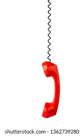 Red phone and cable isolated on white background