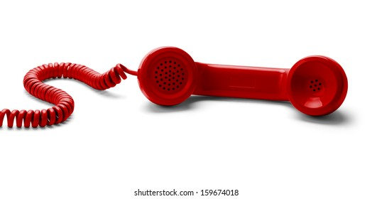 Red Phone Off the Hook Isolated on White Background.