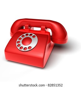 red phone on white background - 3D render bitmap