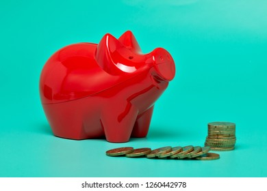Red piggy bank, with bright green background