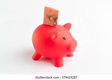 Red Piggy Bank Full of Euros