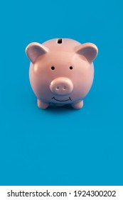 red piggy bank on blue background