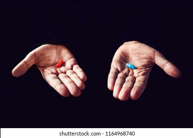 Red Pill Blue Pill concept. The right choice the concept of the movie matrix. The choice of tablets.
