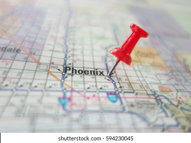 Red pin in a map of Phoenix Arizona