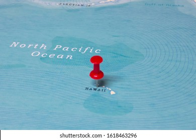 A Red Pin on Hawaii of the World Map