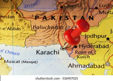 Red pin on Karachi, Pakistan. Copy space available.