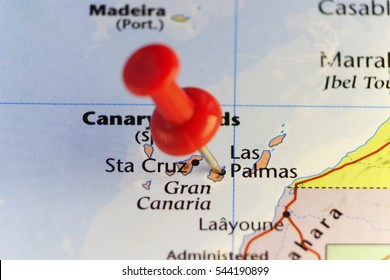 Red pin on Las Palmas, Canary islands. Copy space available.