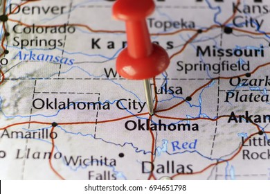 Red pin on Oklahoma city, Oklahoma, USA. Copy space available.