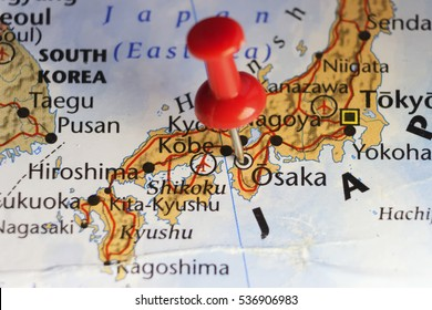 Red pin on Osaka, Japan. Copy space available.