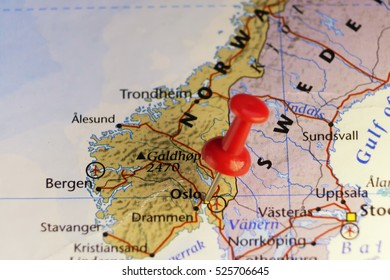Red pin on Oslo Norway. Copy space available.