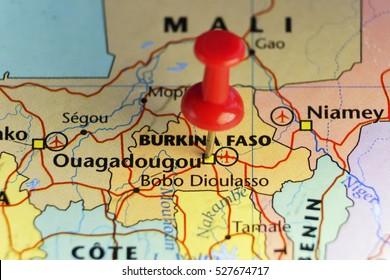 Red pin on Ouagadougou, Burkina Faso. Copy space available.