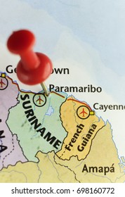 Red pin on Paramaribo capital of Suriname. Copy space available.