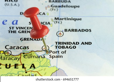 Red pin on Port of Spain capital of Trinidad and Tobago. Copy space available.
