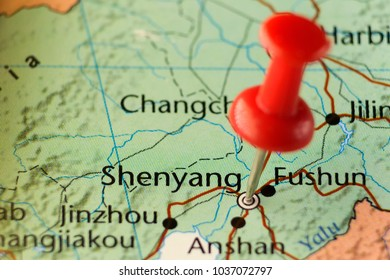 Red pin on Shenyang, China. Copy space available.