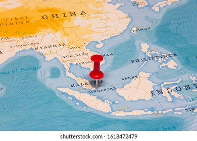 A Red Pin on Singapore of the World Map