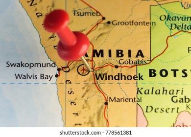 Red pin on Windhoek, Namibia. Copy space available.
